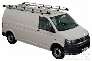 VW T5 / T6  (2002 bis ... ), Normales Dach H1, Länge L2, mit Heckklappe, MIT C-Schienen oder MIT Fixpunkte, 3,2 x 1,40 Meter - Aluminium Schwerlastkorb inkl. Edelstahl Aufschubrolle