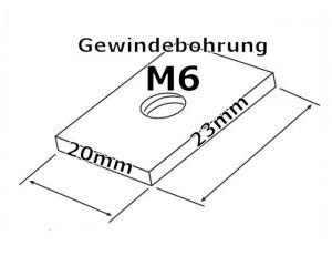 Kulissensteine 23,5 x 20 x 4mm (LxBxH) mit M6 Gewindebohrung (10 Stück)