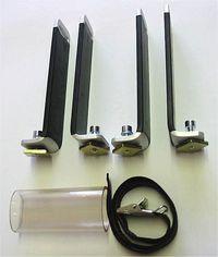 Senkrechtstütze für  Aluträger mit  T- Nutensystem von  21 x 4 mm bis 25 x 10  für 1 bis 2 Snowboard  als Paddelhalter  oder andere Lasten  Höhe 14 cm