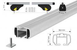 YURO Aluminium Grunträger für VOLVO, XC90 mit Dachreling, 09/2002 bis 06/2015, 07/2015 bis