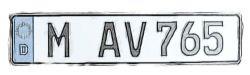 Wiederholungs Kennzeichen für Anhängerkupplungsträger