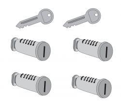 4 Schlösser  2 Schlüssel  für Atera Strada, Evo,  Vario, Giro,  Speed und Nova