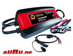 ACCUCHARGER 6 und 12 Volt 2A (BANNER), elektronisches Automatik-Ladegerät, Erhaltungslader Auto, Motorrad, Oldtimer, optimal für Batterien bis 46 Ah