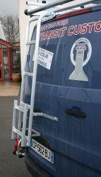 Aluminium Hecktür Leiter für Ford Transit Custom, 2012 bis ..., Höhe: H1, MIT Flügeltüren, MIT und OHNE Heckfenster, OHNE Bohren - MTS